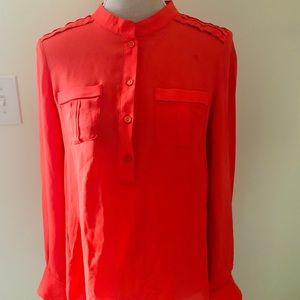 Parker Bright Coral Semi-Sheer Silk Blouse sz L